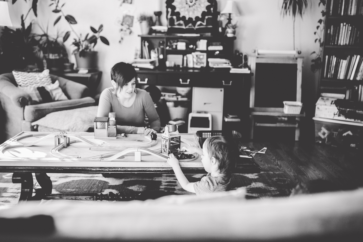 Maternity Young Son Playing Toys Family Cozy House Missoula Photographer