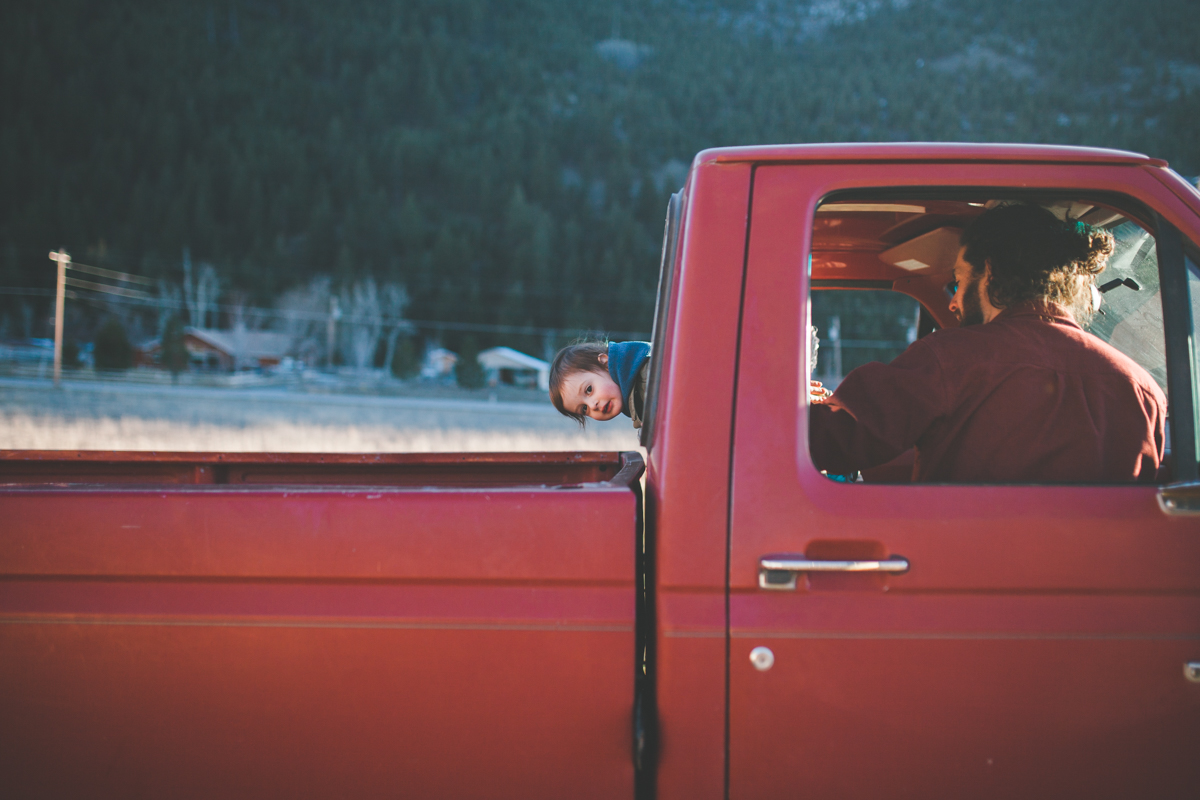 Father Son Outdoors Maternity Red Truck Family Missoula Photographer