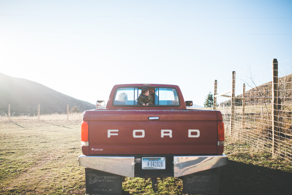 Maternity Mother Red Truck Belly Outdoors Family Missoula Photographer
